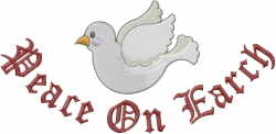 Peace On Earth Dove embroidery design