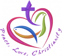Peace Love Christianity embroidery design