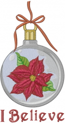I Believe Poinsettia Ornament embroidery design
