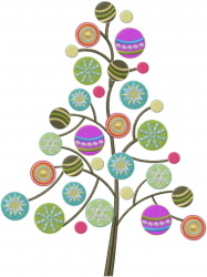 Christmas Tree With Ornaments embroidery design