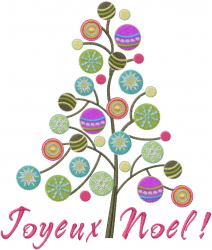 Joyeux Noel Tree embroidery design