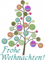 Frohe Weihnachten Christmas Tree embroidery design