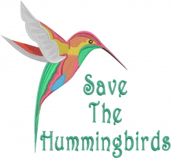 Save The Hummingbirds embroidery design