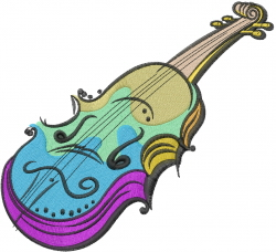 Colorful Violin embroidery design