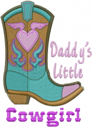Daddys Little Cowgirl Boot embroidery design