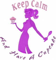 Cupcake Girl Keep Calm embroidery design