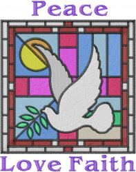 Peace Love Faith Window embroidery design