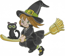 Halloween Witch & Cat embroidery design