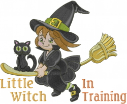 Little Witch In Training embroidery design