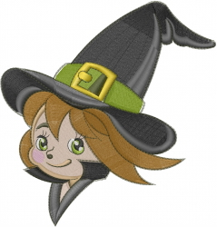 Halloween Witch Head embroidery design