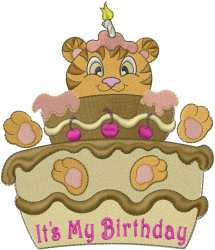 Happy Birthday Cat embroidery design