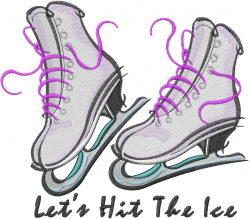 Lets Hit The Ice embroidery design