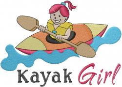 Kayak Girl embroidery design