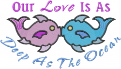 Kissing Fish Love embroidery design