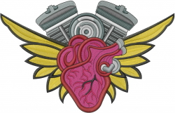 Love Engine Heart Tattoo embroidery design