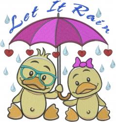 Love Umbrella Ducks embroidery design
