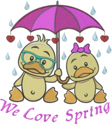 We Love Spring embroidery design