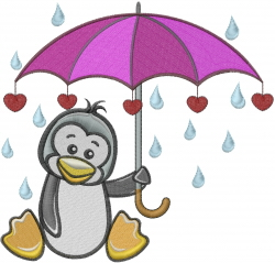 Penguin Umbrella Love embroidery design