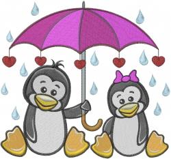 Penguin Umbrella Love Valentine embroidery design