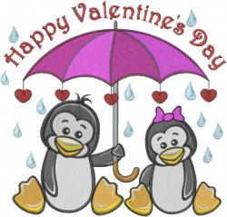 Happy Valentines Day Penguins embroidery design