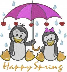 Happy Spring Penguins embroidery design