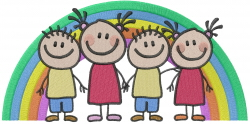 Rainbow Stick Kids embroidery design