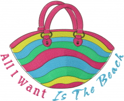 Beach Bag & Text embroidery design
