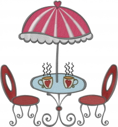 Café With Umbrella embroidery design