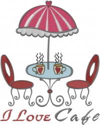 Café With Umbrella  embroidery design