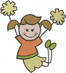 Cheerleader Stick Girl embroidery design