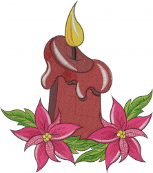 Christmas Candle Poinsettias embroidery design