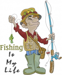 Humorous Fisherman embroidery design