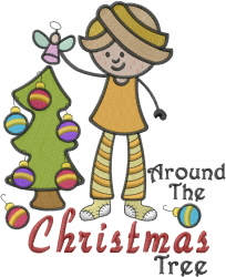 Christmas Decorating Girl embroidery design