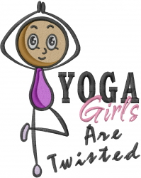 Yoga Stick Girl embroidery design