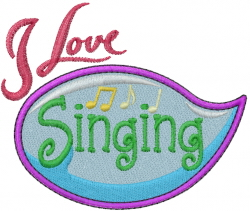 Hobby Caption - Singing embroidery design