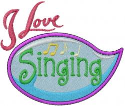 Hobby Caption - Singing embroidery design
