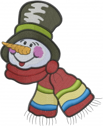 Patchwork Snowman Face embroidery design