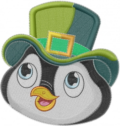 St. Patricks Day Penguin Face embroidery design
