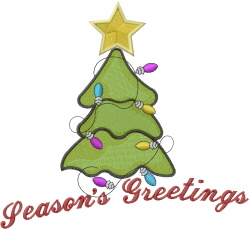 Seasons Greetings Xmas Tree embroidery design