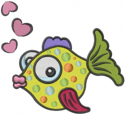 Love Fish Her embroidery design