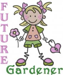 Future Gardener Girl embroidery design