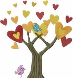 Tree Hearts W/ Birds embroidery design