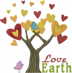 Tree Hearts Love Earth embroidery design