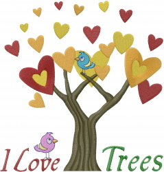 Tree Hearts Love Birds embroidery design