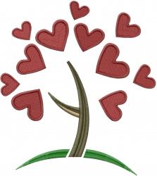 Retro Love Tree embroidery design