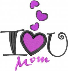 Love U Mom embroidery design