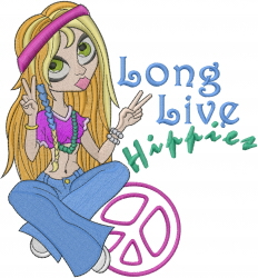 Long Live Hippies embroidery design