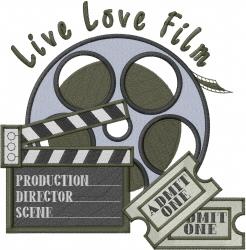 Live Love Film embroidery design
