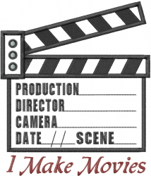 Make Movies Clapboard Applique embroidery design