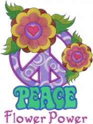 Peace Sign Flower Power embroidery design